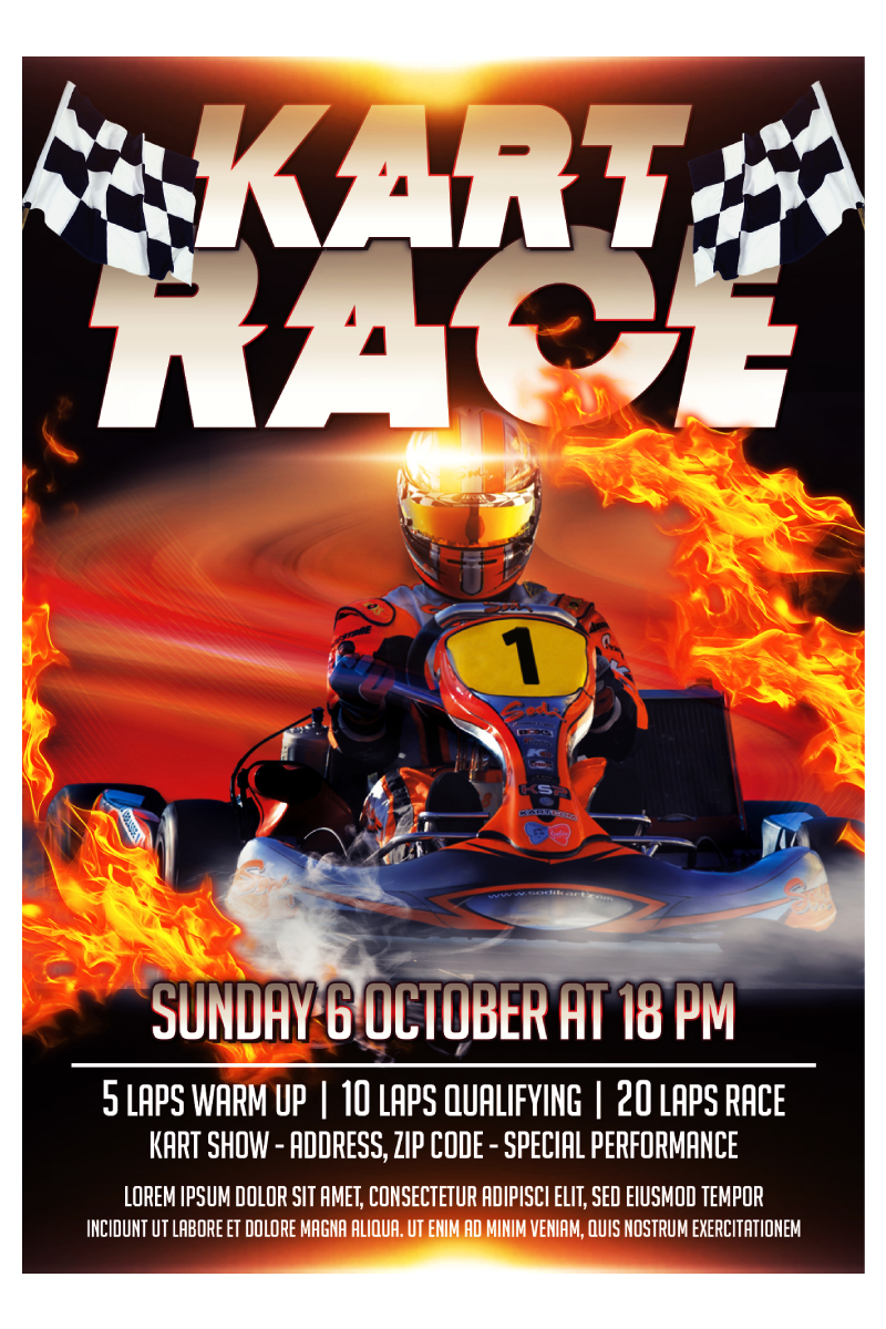 Kart Race Flyer PSD Template
