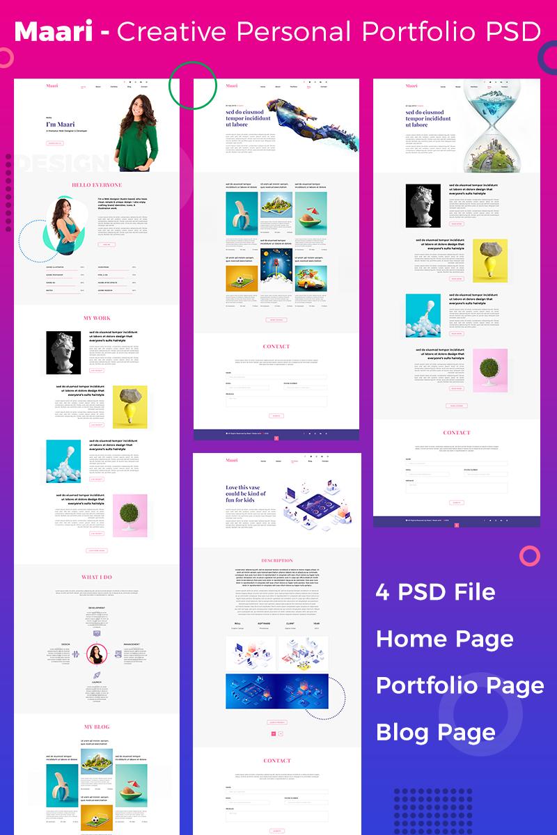 """Maari - Creative Portfolio & Resume"" PSD Template №86336"