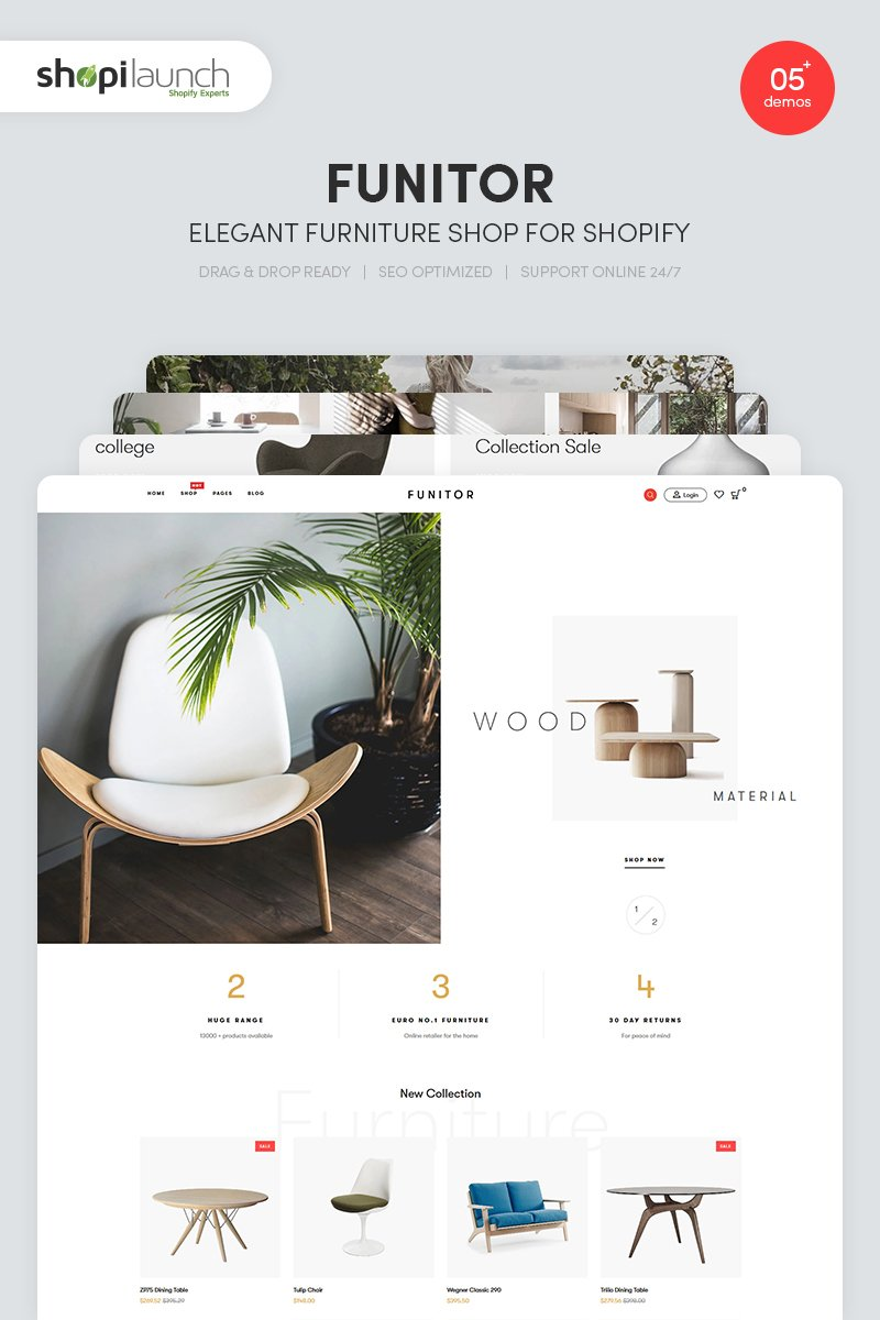 "Modello Shopify Responsive #86312 ""Funitor - Elegant Furniture"" - screenshot"