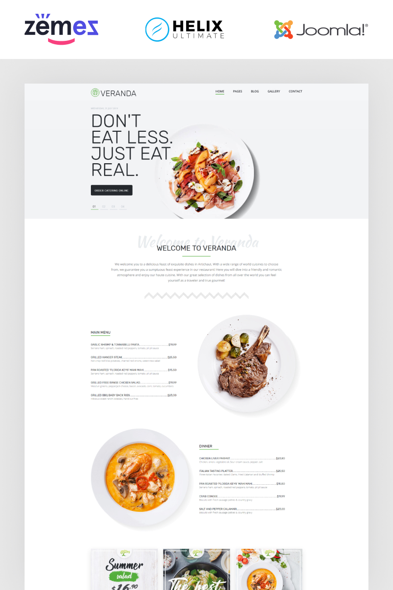 "Plantilla Joomla ""Veranda - Cafe and Restaurant Multipage Elegant"" #86398"
