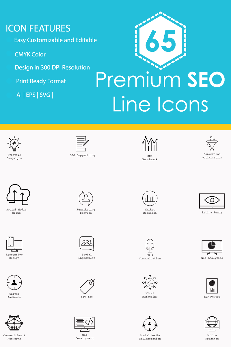 """65 Premium SEO Line"" Iconset template №86335"