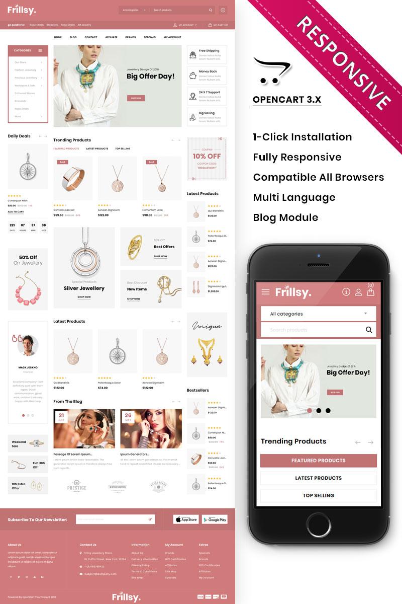 Responsive Frillsy - The Jewelry Store Premium Opencart #86344