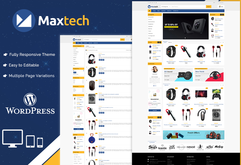 "Tema WooCommerce ""Maxtech Electronics"" #86313"