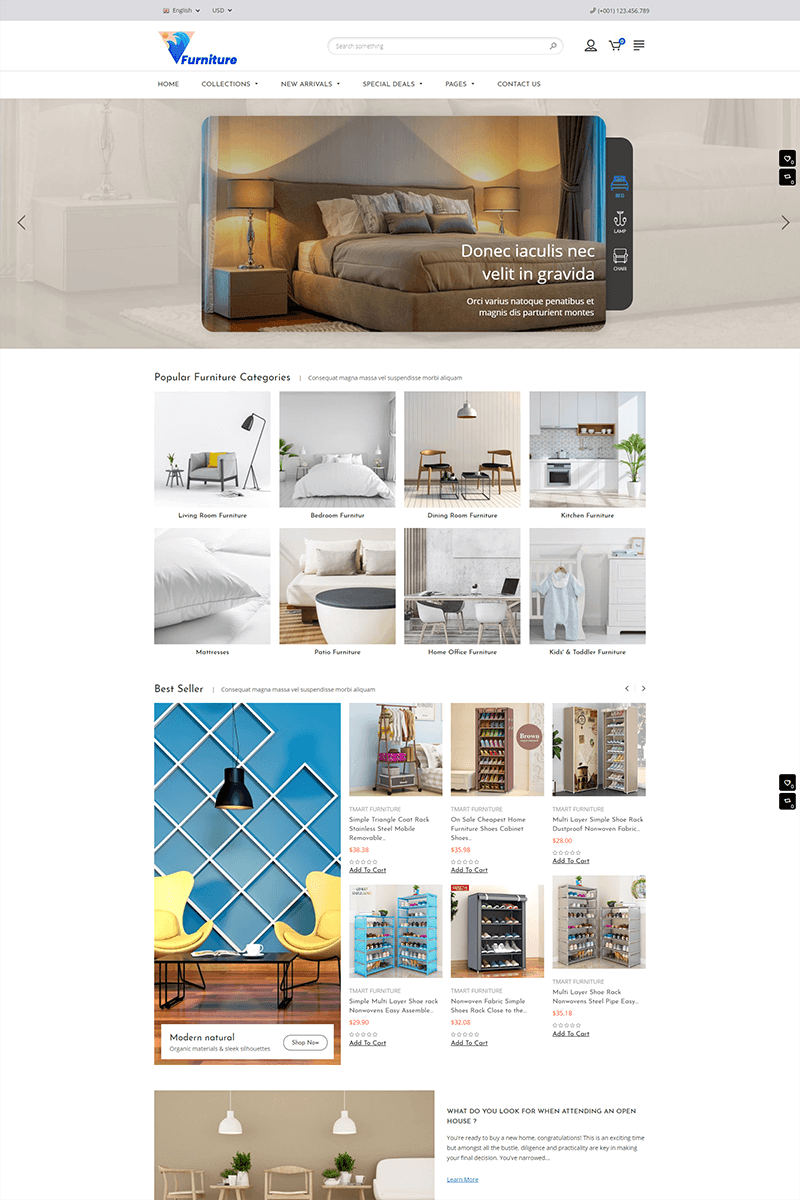 Furniture - Sectioned Responsive Tema de Shopify №86401