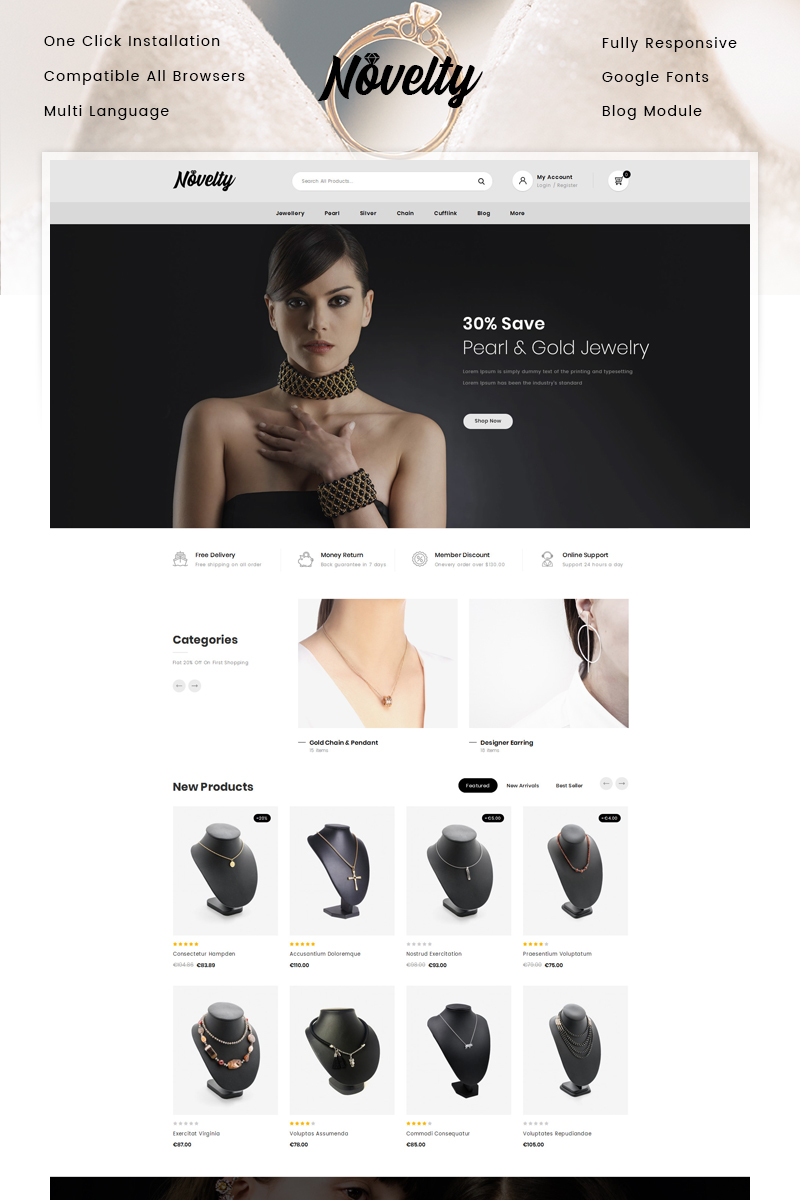 """Novelty - Jewelry Store"" thème PrestaShop adaptatif #86464"
