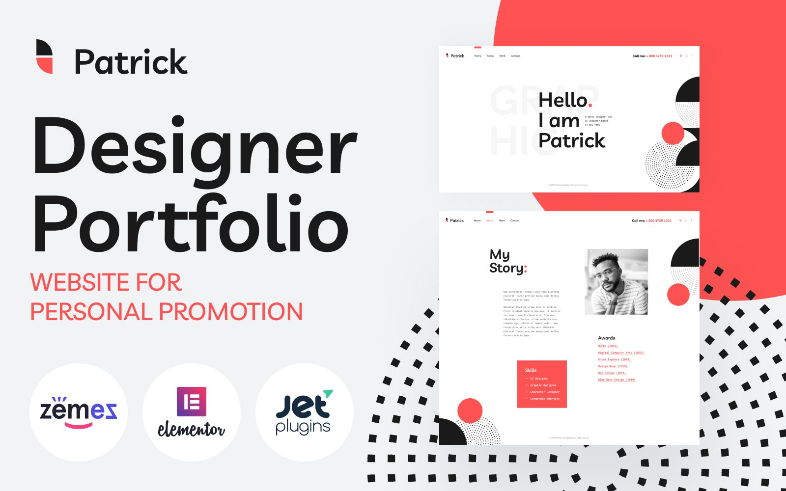 """Patrick - Designer Portfolio Website for Personal Promotion"" thème WordPress adaptatif #86470"