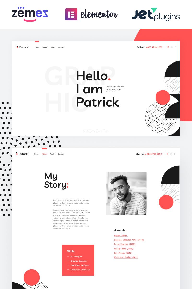 "Template WordPress Responsive #86470 ""Patrick - Designer Portfolio Website for Personal Promotion"""