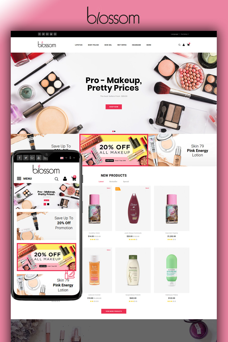 """Blossom - Beauty Store"" Responsive OpenCart Template №86585"