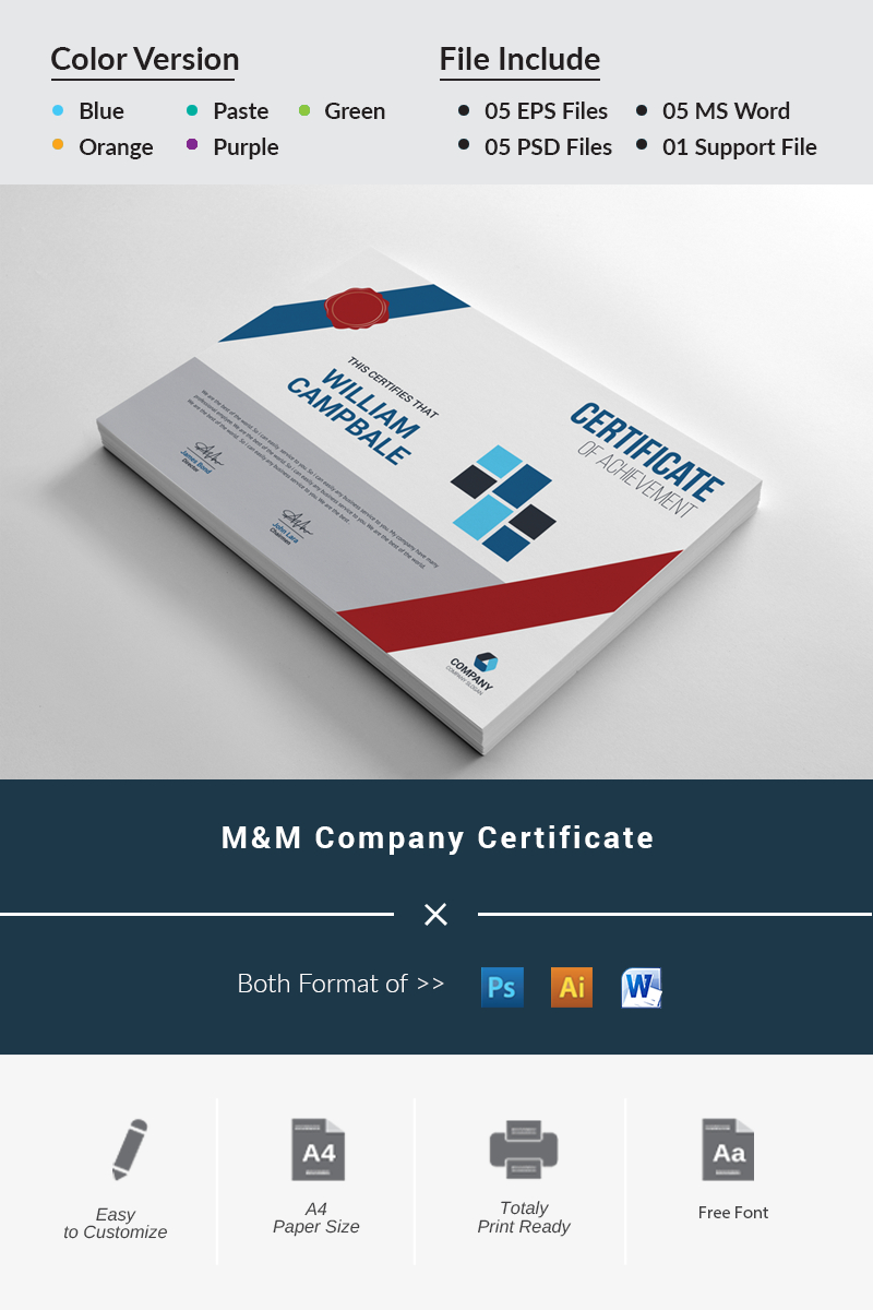 M&M Company Certificate Template