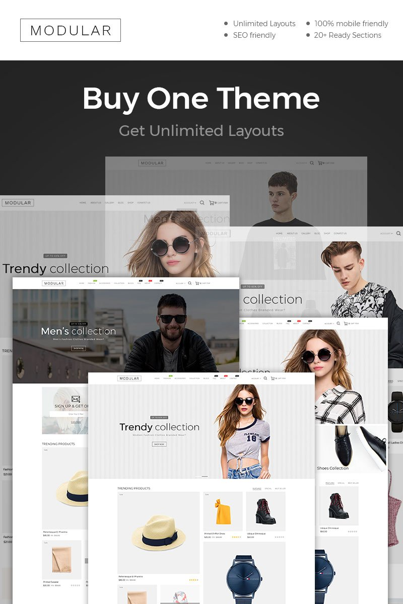 """""""Modular Fashion"""" Responsive Shopify Thema №86583 - screenshot"""