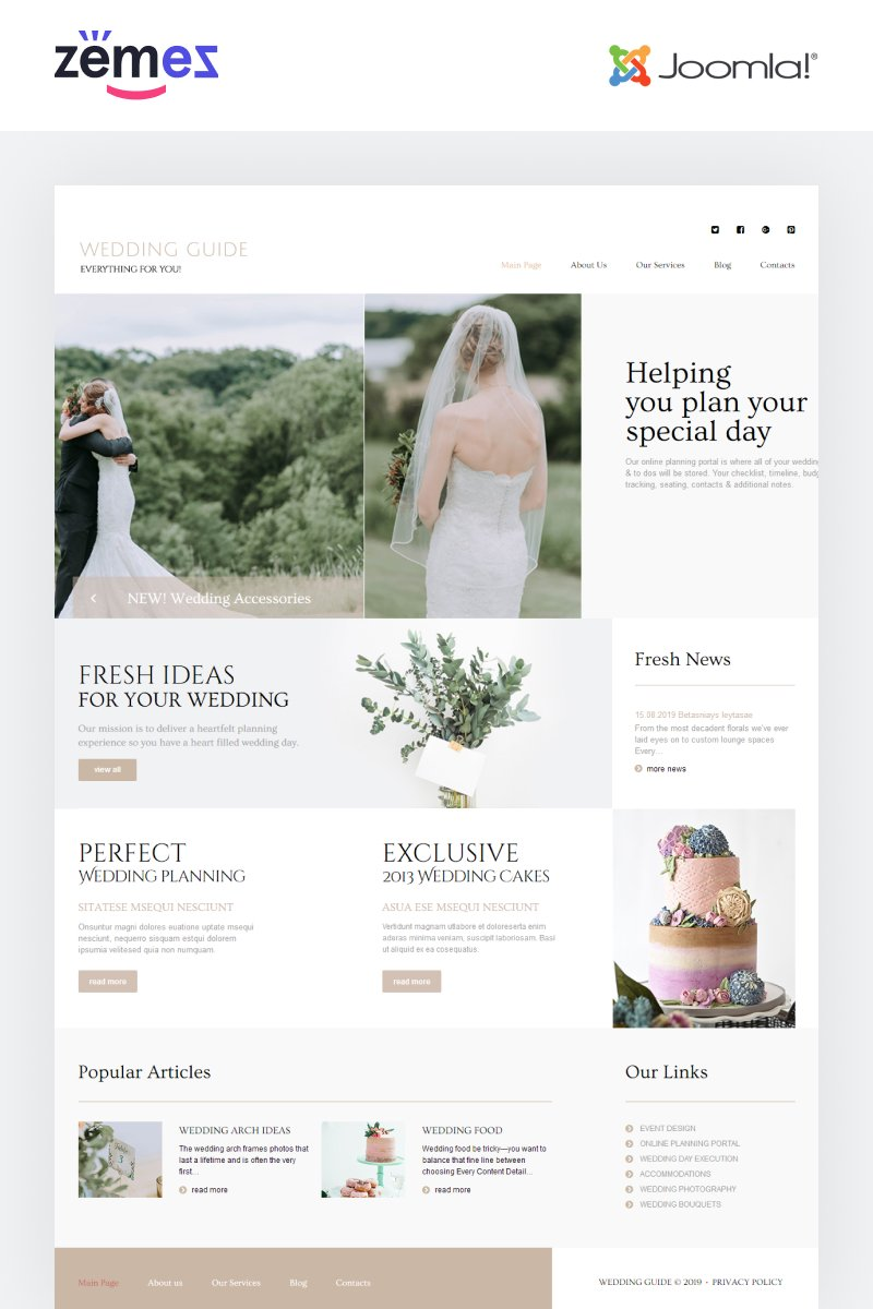 Responsive Wedding Guide - Wedding Planner Multipage Stylish Joomla #86521 - Ekran resmi
