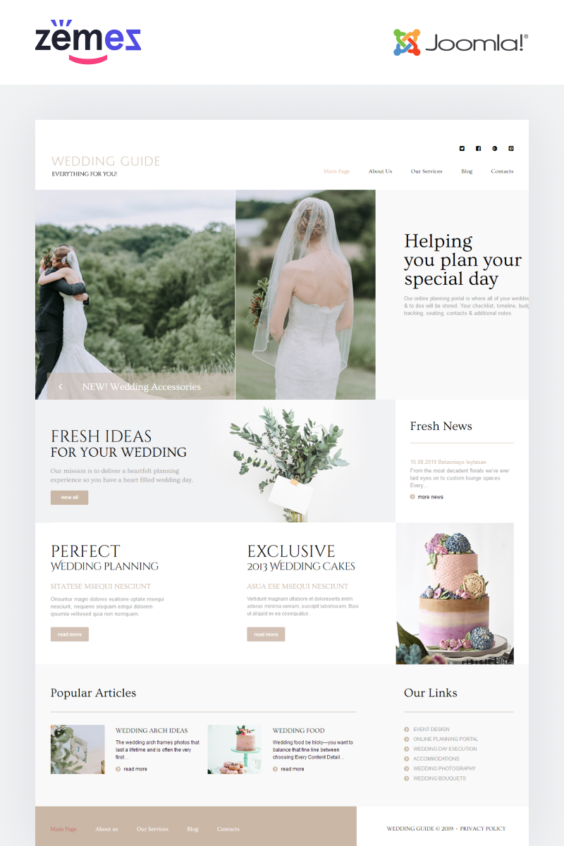 Responsywny szablon Joomla Wedding Guide - Wedding Planner Multipage Stylish #86521