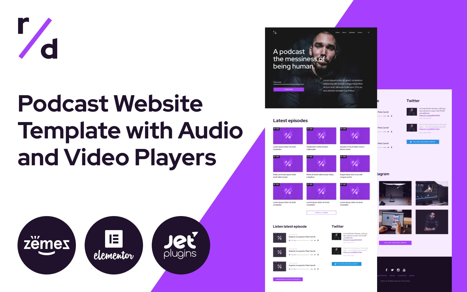 """""""Richard Dream - Podcast Website Template with Audio and Video Players"""" 响应式WordPress模板 #86500"""