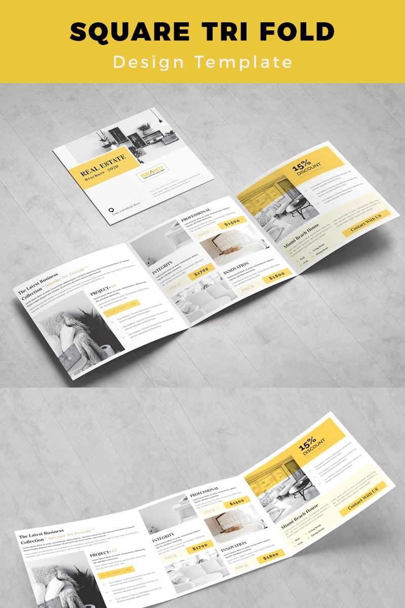 Ruske Real Estate Square Trifold Brochure Corporate Identity Template