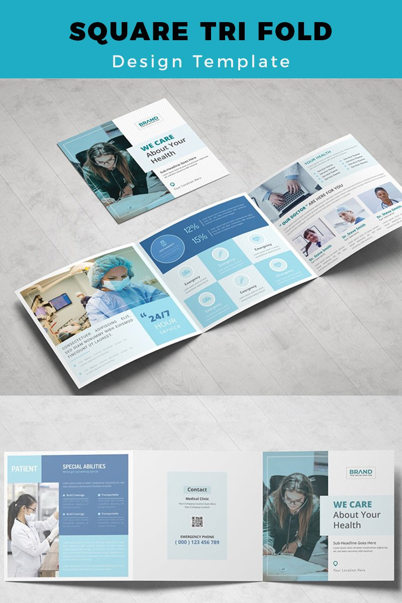 Vallen Medical & Hospital Square Trifold Brochure Corporate Identity Template