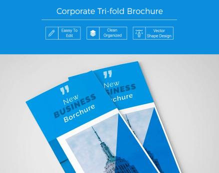 Trupi Business Blue Trifold Brochure Corporate Identity