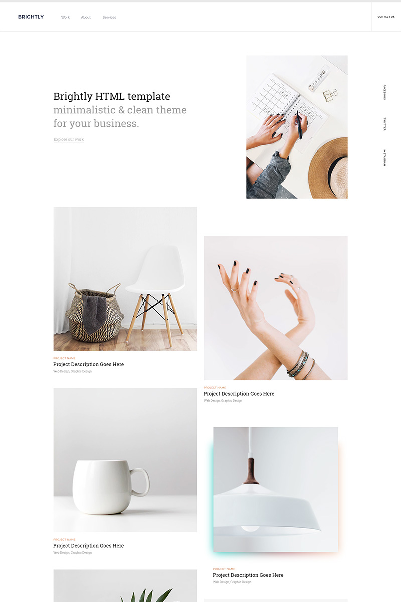 Brightly - One Page HTML Landing Page Template