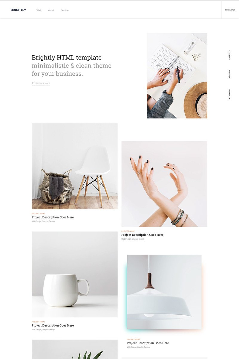 Brightly - One Page HTML Templates de Landing Page №86643