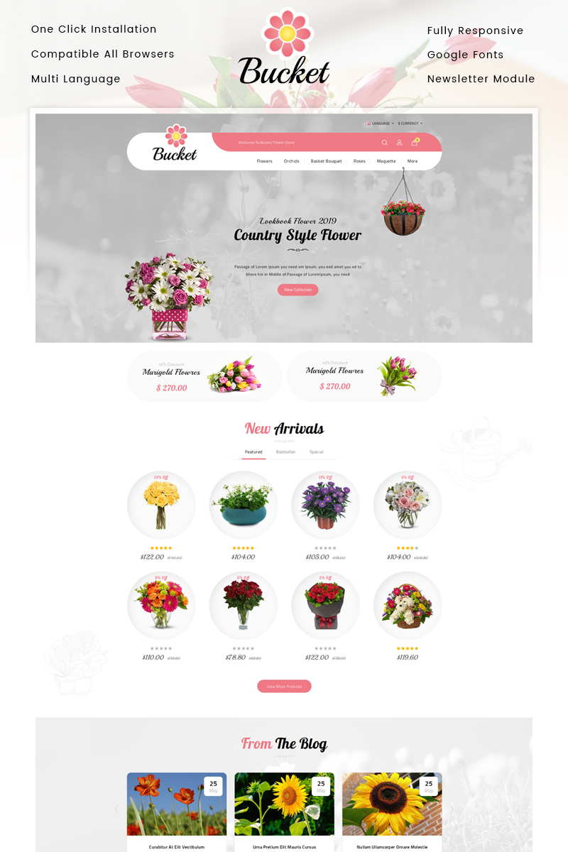 Bucket Flowers Store Template OpenCart №86642