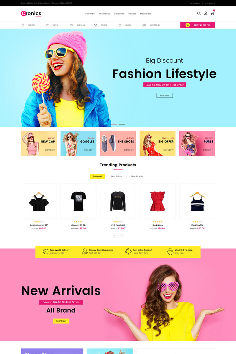 """Cronics Fashion Responsive"" Responsive OpenCart Template №86686"