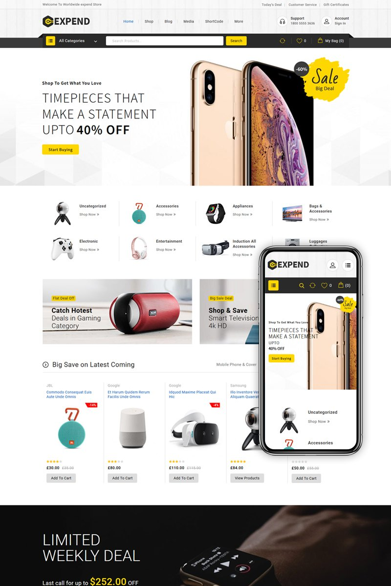 """Expend - Multipurpose Store"" Responsive WooCommerce Thema №86685"