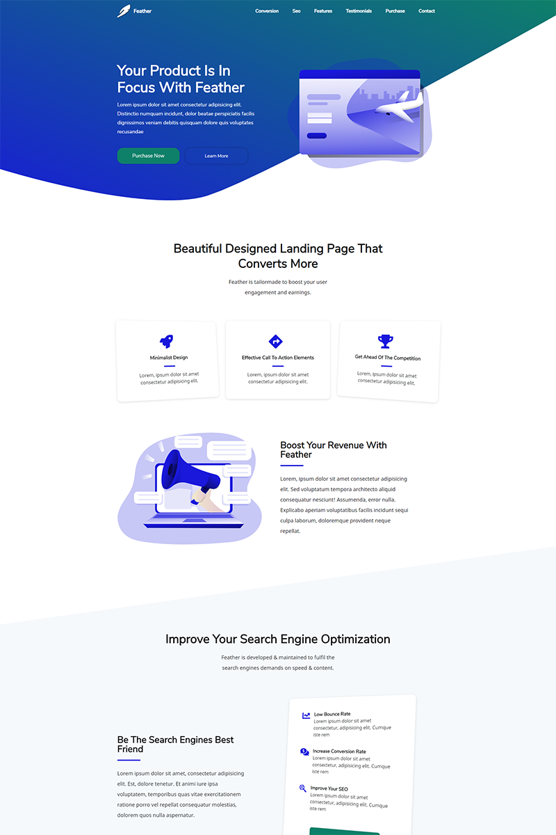 Feather Landing Page Template