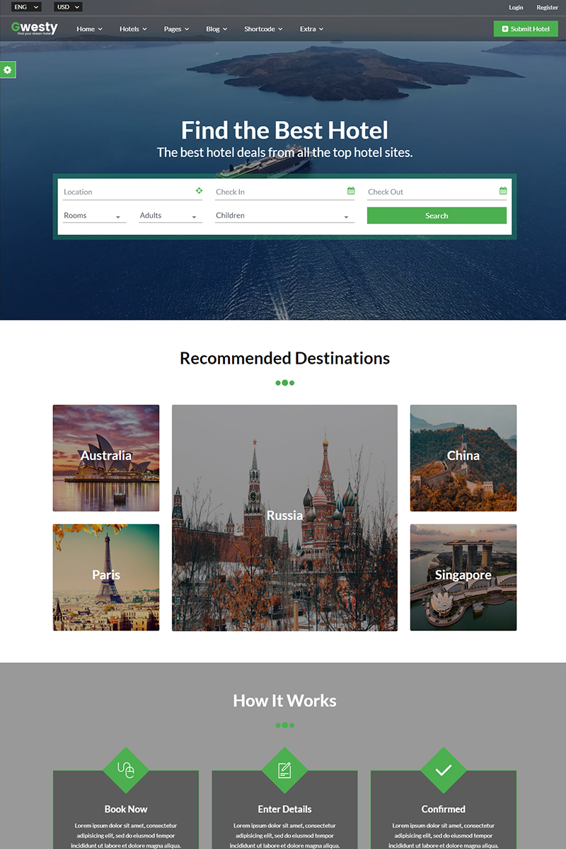 """""""Gwesty - Hotel Booking"""" Bootstrap Website template №86617"""