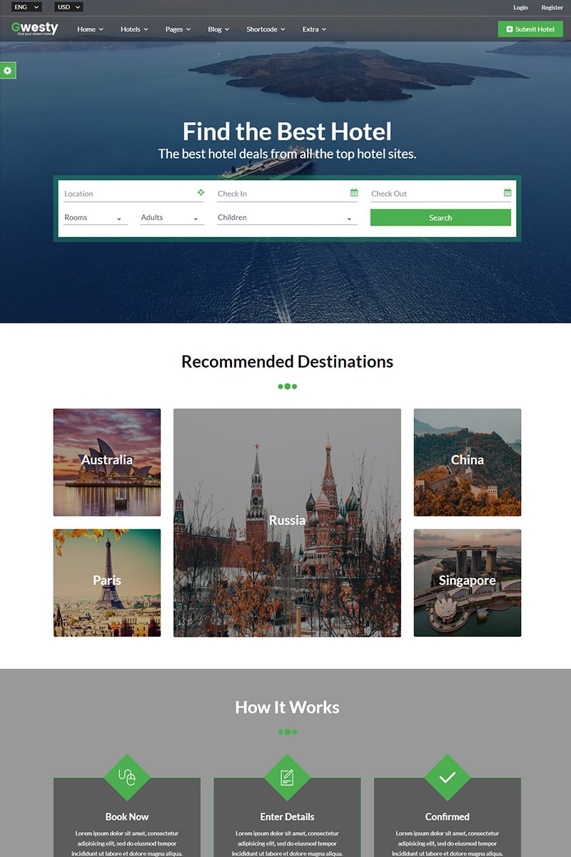 Gwesty - Hotel Booking Template Web №86617