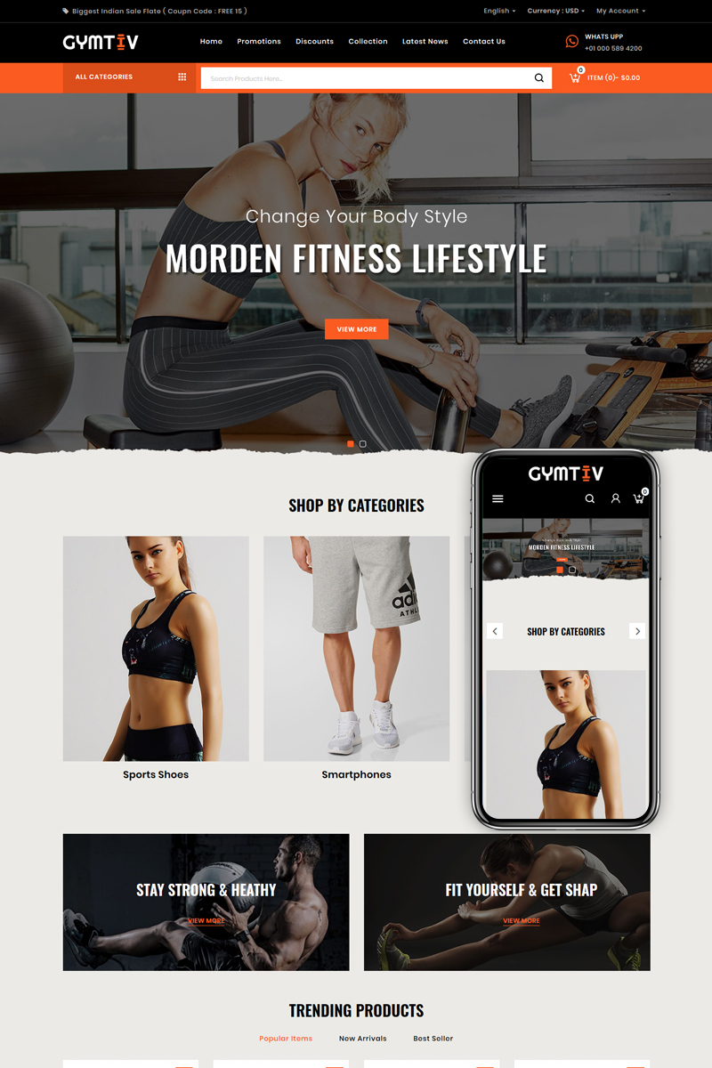 """Gymtiv - Fitness Store"" 响应式PrestaShop模板 #86684"