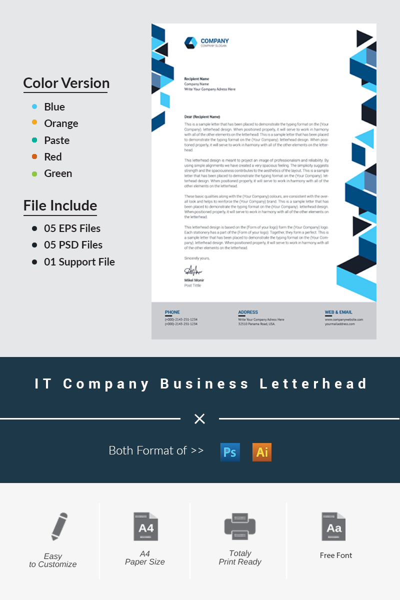 IT Company Business Letterhead Corporate Identity Template