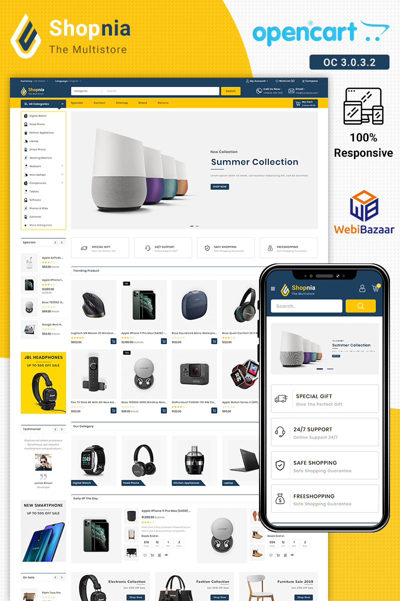 "Modello OpenCart Responsive #86618 ""Shopnia Electronics"""