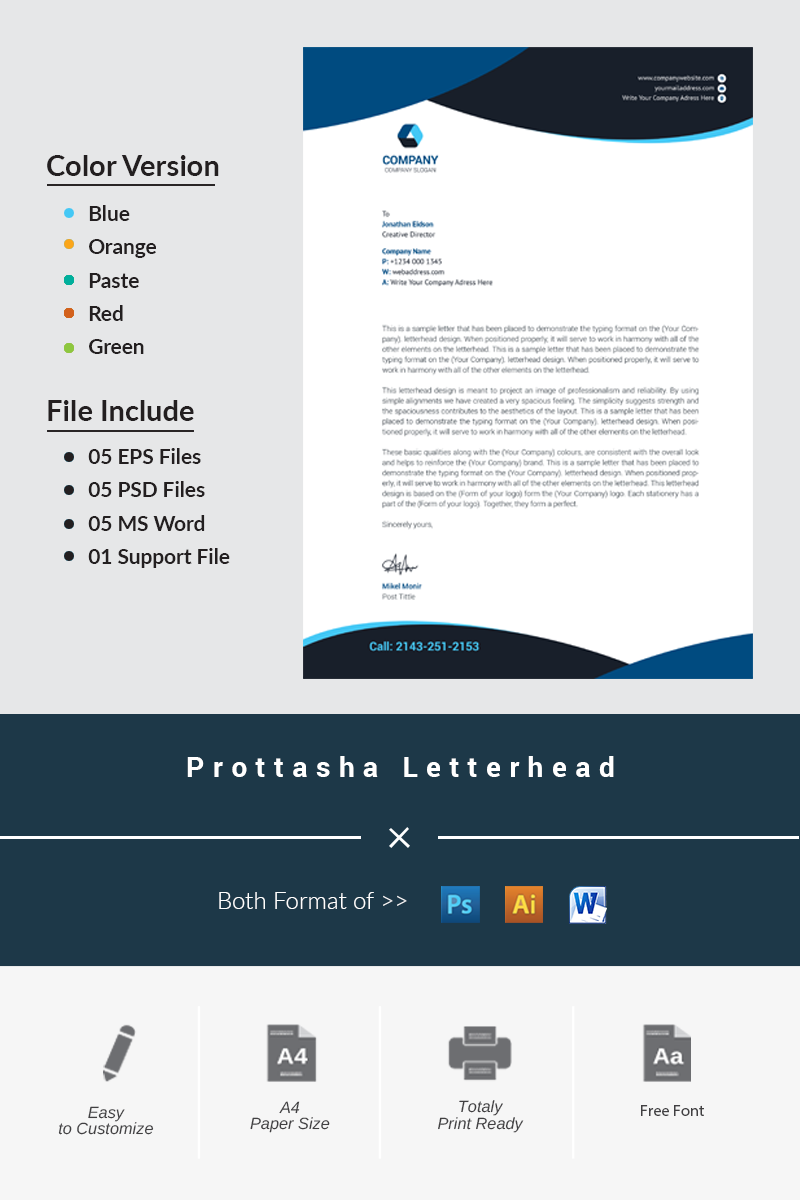 Prottasha Letterhead Corporate Identity Template