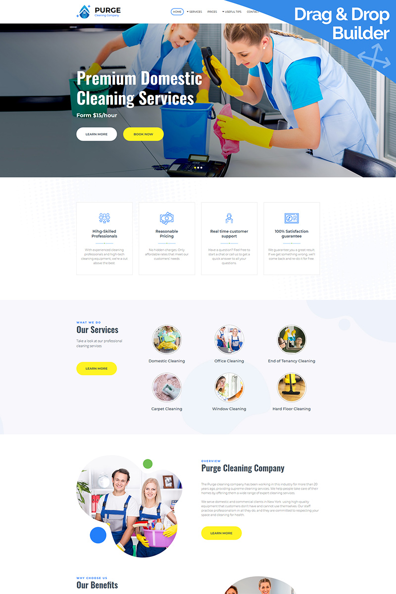 """""""Purge - Cleaning Company"""" Responsive Moto CMS 3 Template №86631"""