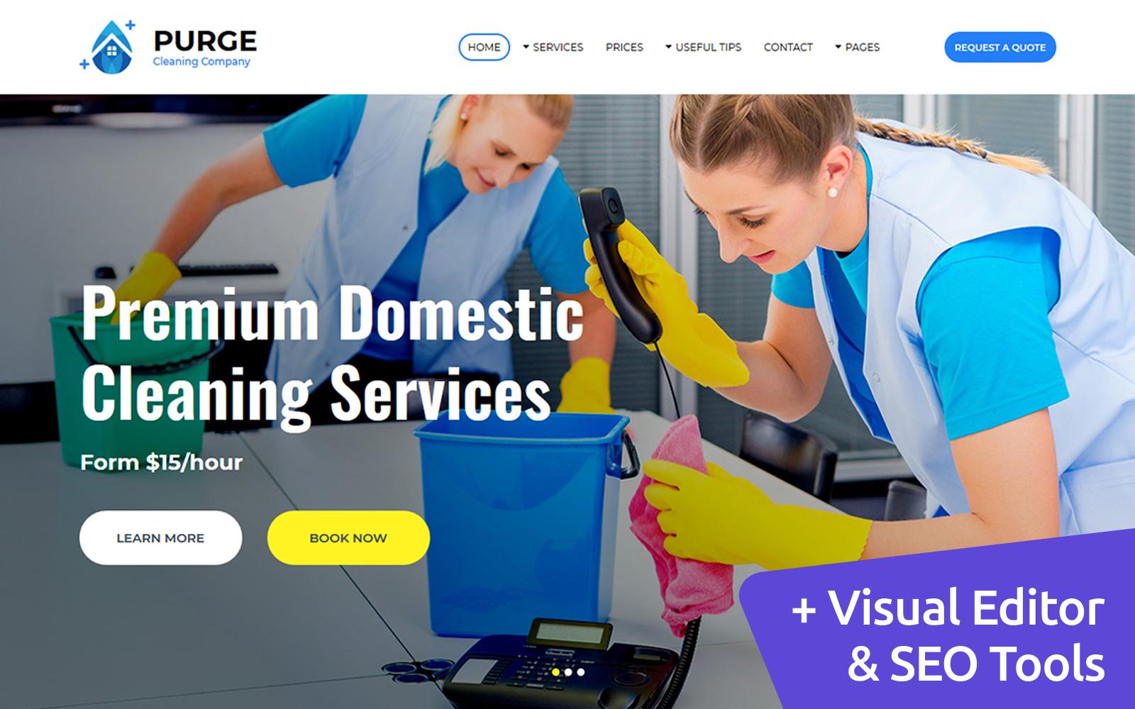 """Responzivní Moto CMS 3 šablona """"Purge - Cleaning Company"""" #86631"""