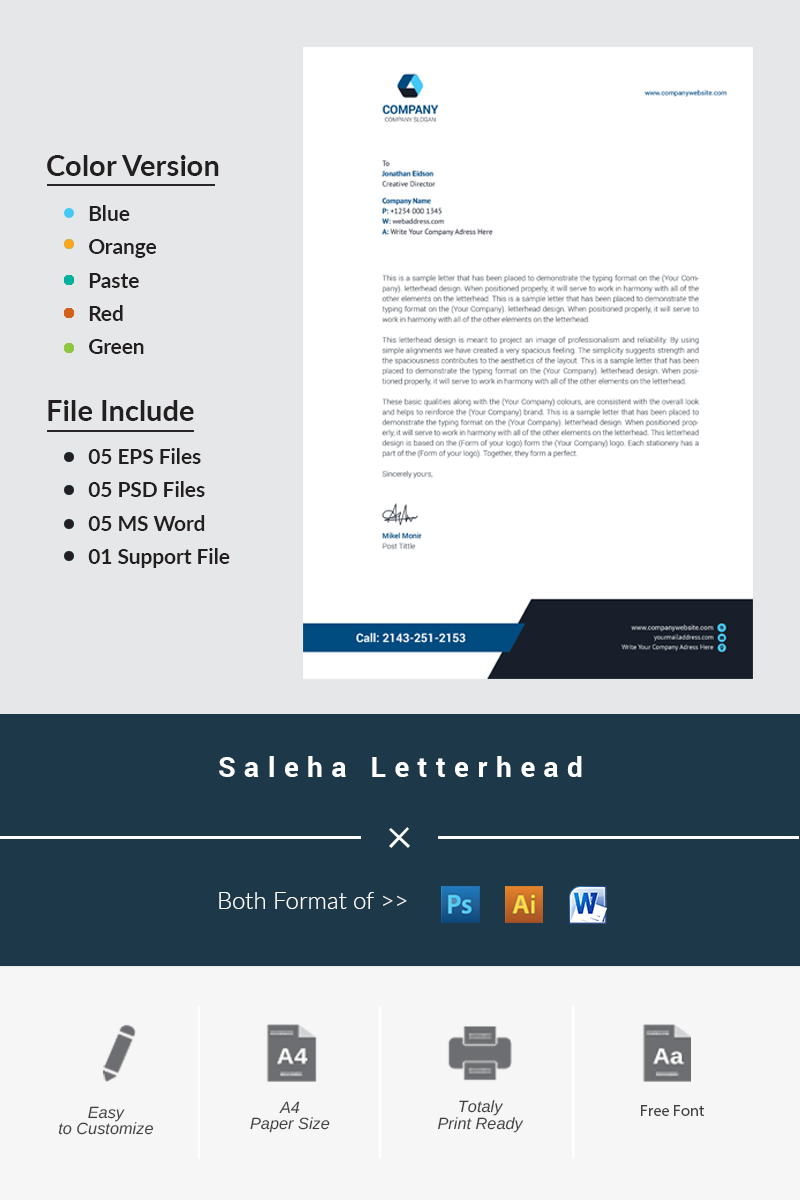 Saleha Letterhead Corporate Identity Template