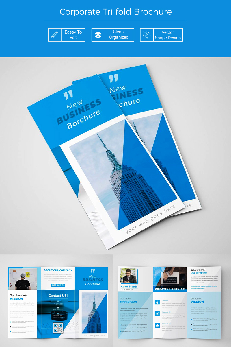 Trupi Business Blue Trifold Brochure Corporate Identity Template