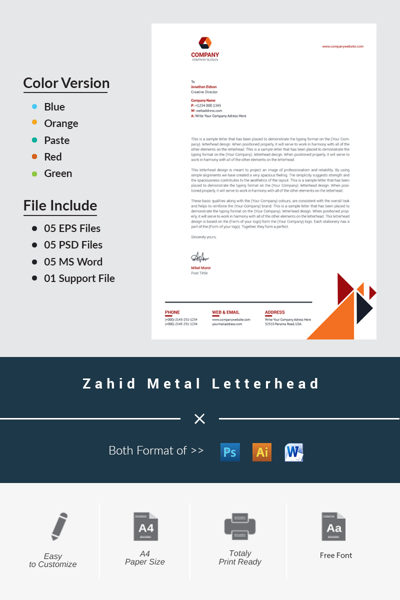 Zahid Metal Letterhead Corporate Identity Template