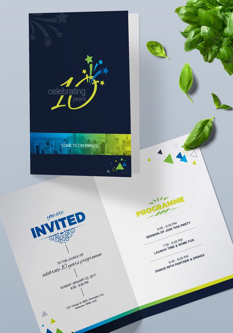 Anniversary Celebration Invitation Card Design Psd Template