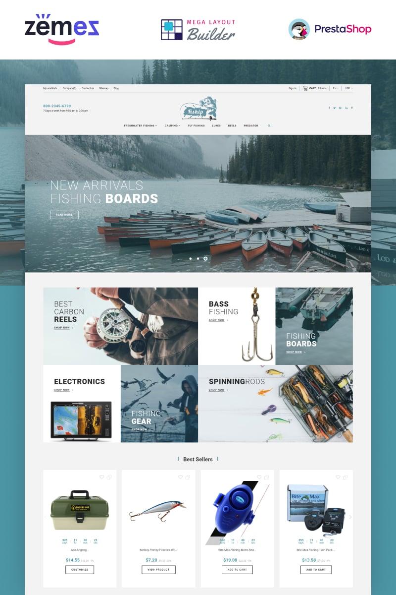 """Fiship - Fishing Store Template"" - адаптивний PrestaShop шаблон №86744"