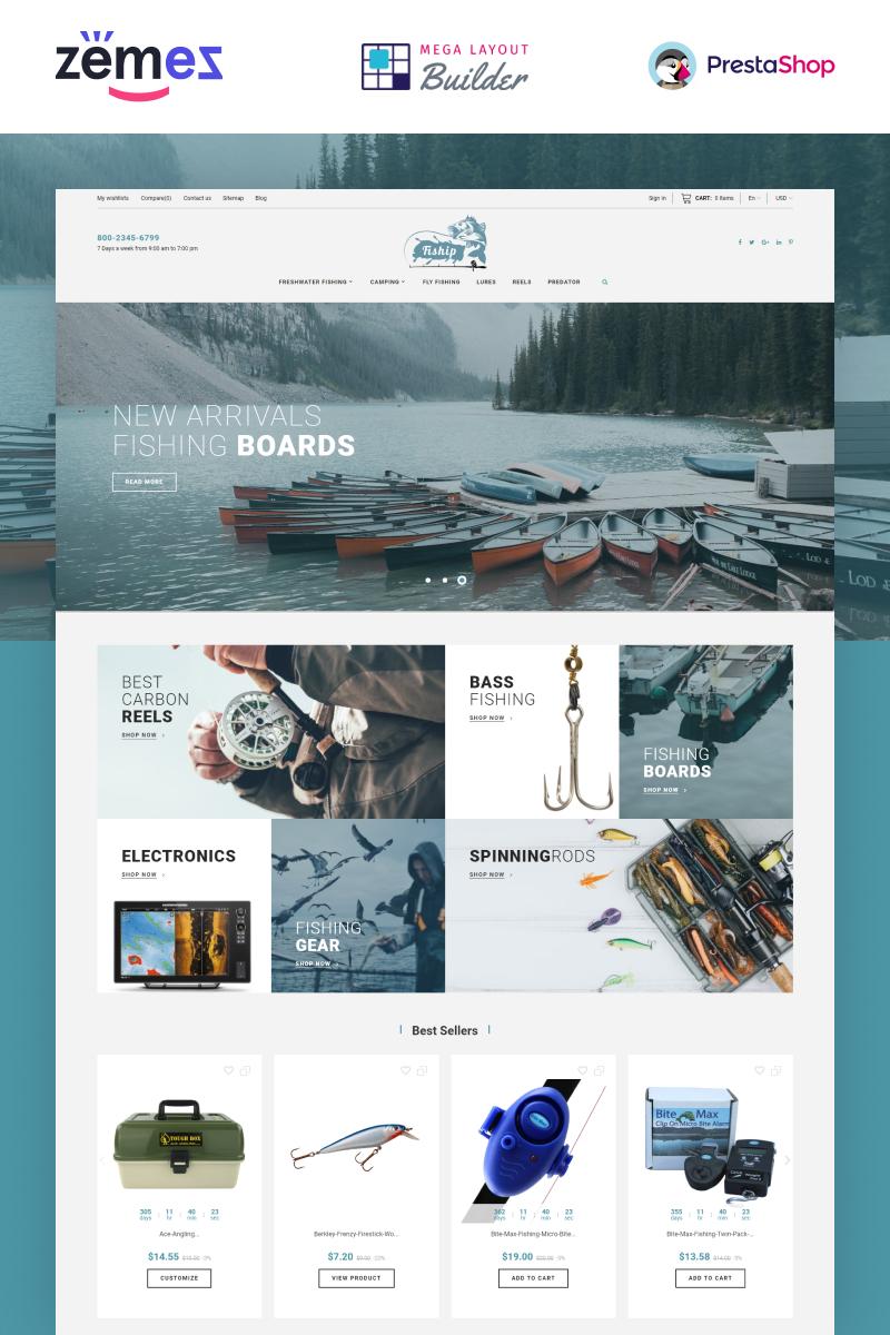 """Fiship - Fishing Store Template"" thème PrestaShop adaptatif #86744"