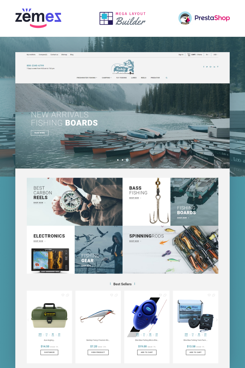 """Fiship - Fishing Store Template"" 响应式PrestaShop模板 #86744"