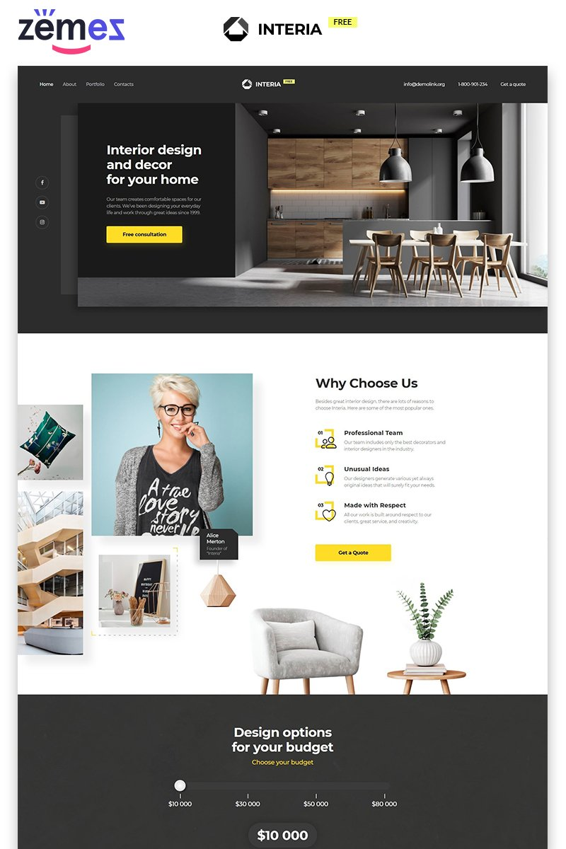 Interia - Design Agency Free Modern HTML Landing Page Template