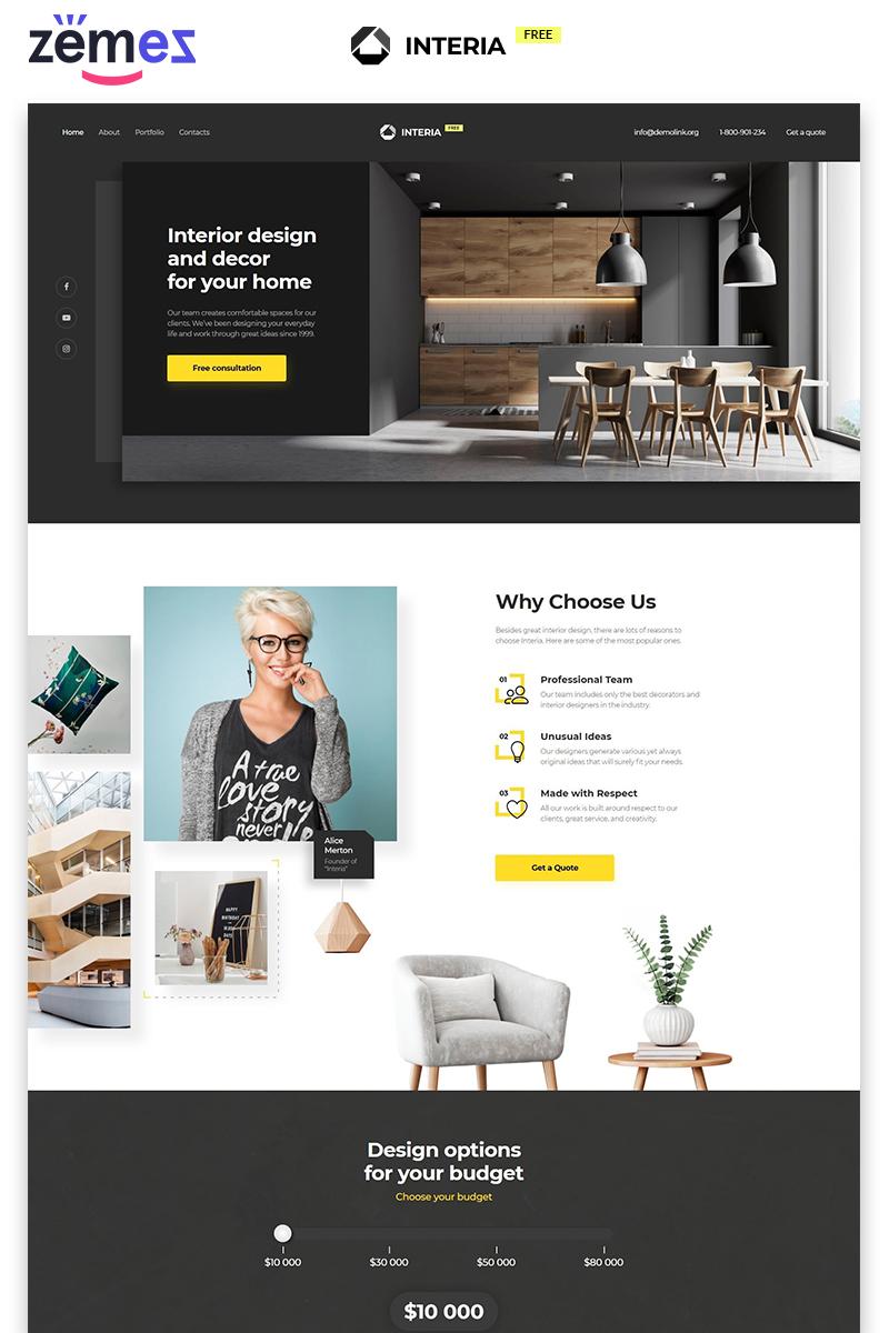 """Interia - Design Agency Free Modern HTML"" modèle  de page d'atterrissage adaptatif #86755"