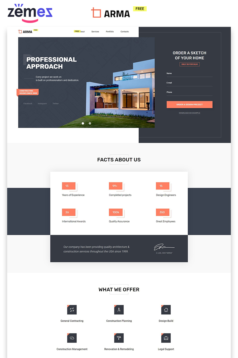 "Landing Page Template namens ""ARMA - Construction Company Free Creative HTML"" #86756"