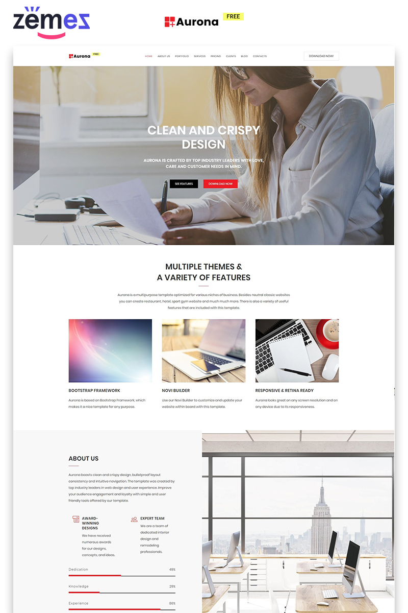 """Landing Page Template namens """"Aurona -  Free Business Clean HTML"""" #86754"""