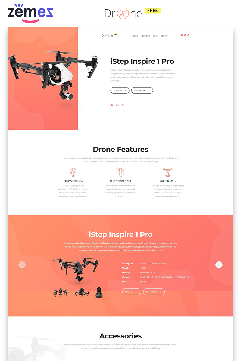 """Landing Page Template namens """"Drone - Free Clean HTML"""" #86748"""