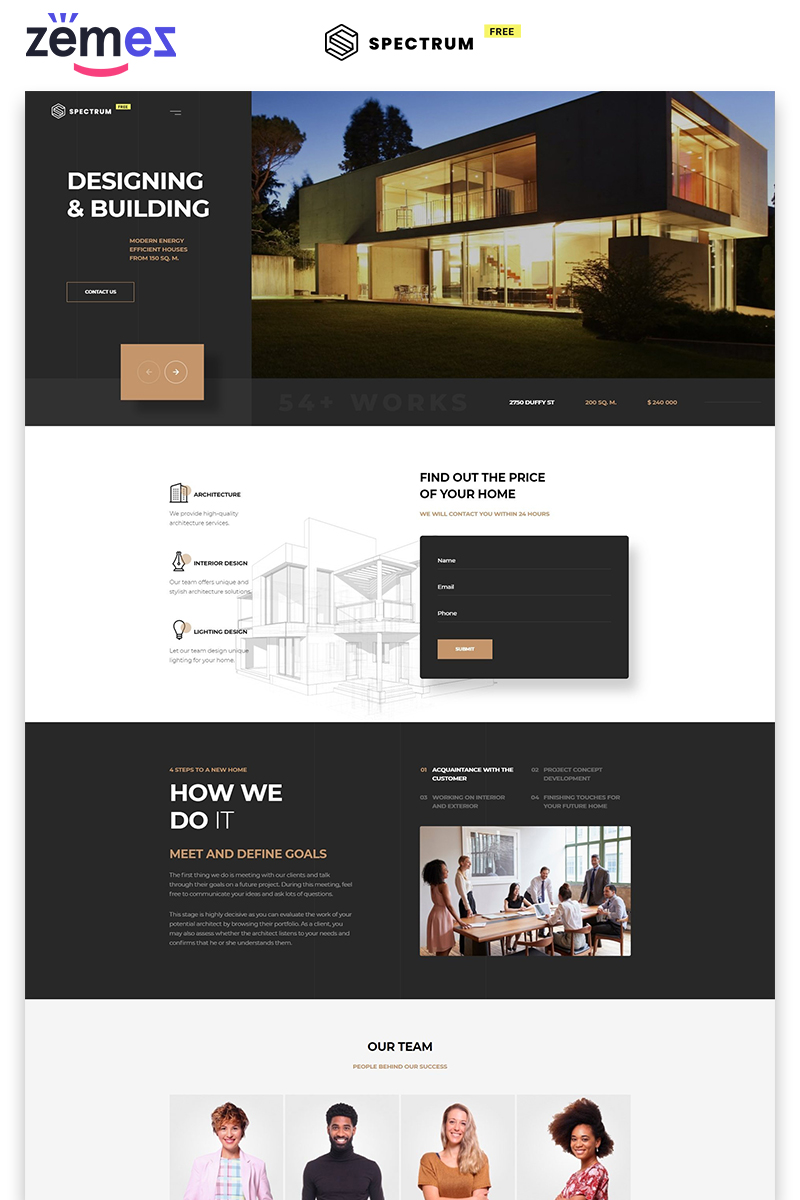 """Landing Page Template namens """"Spectrum - Construction Company Free HTML"""" #86750"""