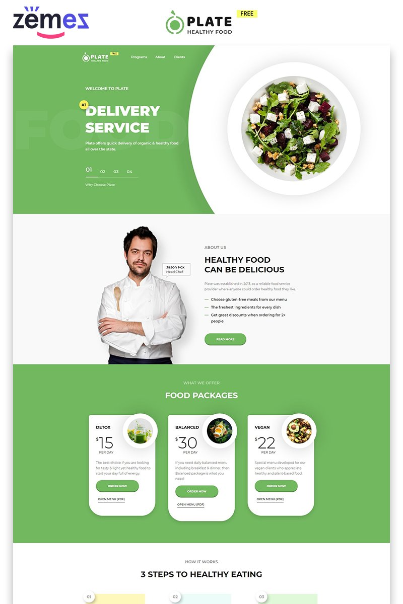 """""""Plate - Free Food and Drink Modern HTML"""" modèle  de page d'atterrissage adaptatif #86753"""