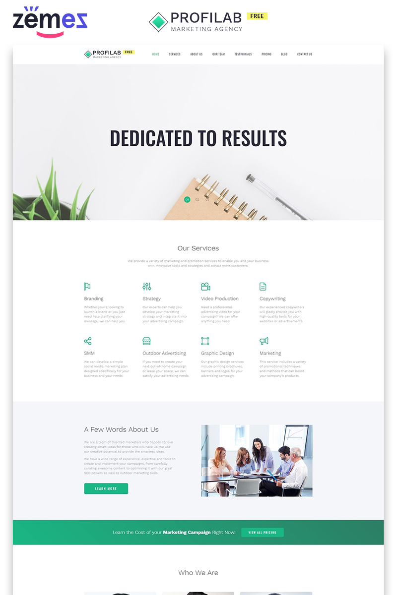 Profilab - Marketing Agency Free HTML Landing Page Template