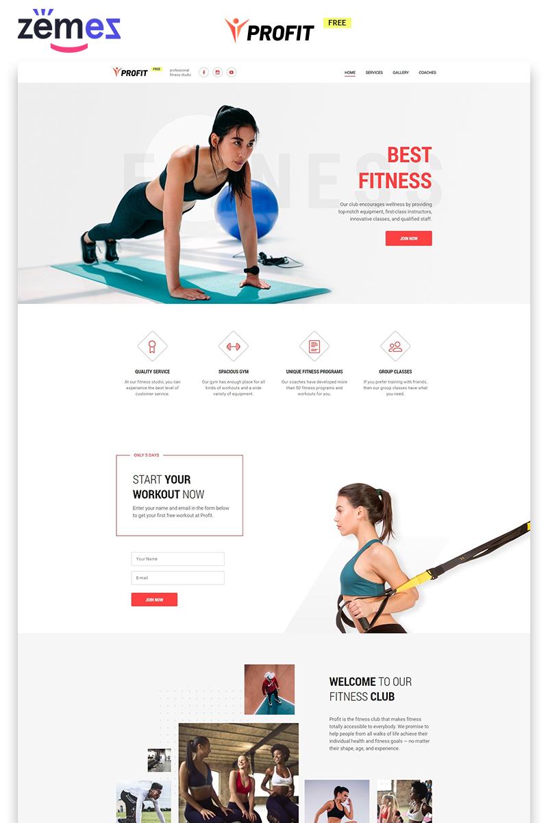 """""""PROFIT - Fitness Free Modern HTML"""" modèle  de page d'atterrissage adaptatif #86749"""